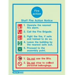 Jalite 5479DD Staff Fire Action Notice - 200 x 300mm