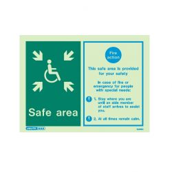 Jalite 5495D Safe Area Fire Action Sign For Persons With Special Needs - 150 x 200mm