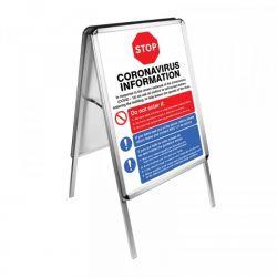 Coronavirus Information Posters Including A2 Aluminium A-Frame - 55168