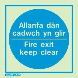 Jalite Allanfa Dan Cadwch Yn Glir Fire Exit Keep Clear Sign - 5530C