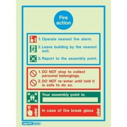Jalite 5537DD Fire Action Sign - 300 x 200mm