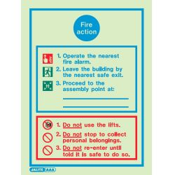 Jalite 5553DD Fire Action Sign - 200 x 300mm