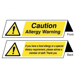 Caution Allergy Warning Double Sided Table Sign - Pack of 5 - 55633