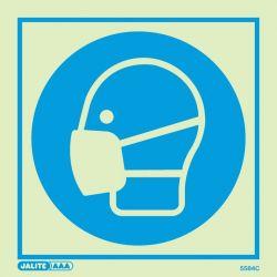 Jalite 5584E Photoluminescent Wear Mask PPE Safety Sign - 200 x 200mm