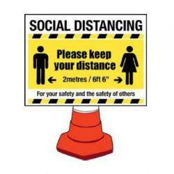 Building Site Social Distancing Sign - Cone Mounting Version - 58444