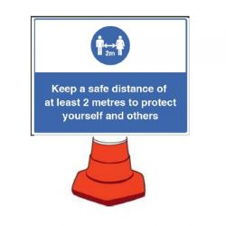 Building Site Social Distancing Sign - Cone Mounting Version - 58445