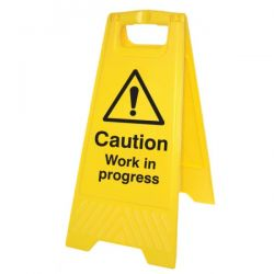 Caution Work In Progress Standing Warning Sign - Yellow - 58540