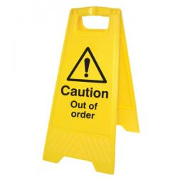 Caution Out Of Order Standing Warning Sign - Yellow - 58543
