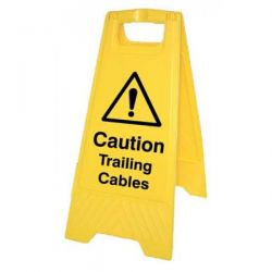 Caution Trailing Cables Standing Warning Sign - Yellow - 58548