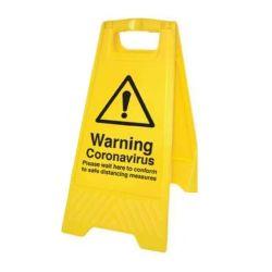 Warning Coronavirus Floor Standing Hazard Sign - Yellow - 58560