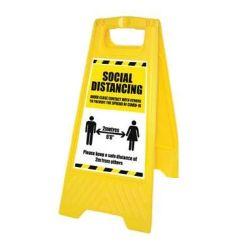 Coronavirus Social Distancing Guidance Floor Standing Warning Sign - Yellow - 58569