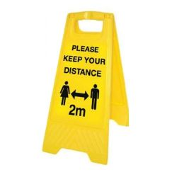 Covid-19 Social Distancing Guidance Floor Standing Warning Sign - Yellow - 58570