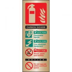 Brass CO2 Fire Extinguisher ID Sign - 59180