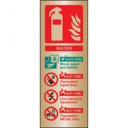 Brass Water Fire Extinguisher ID Sign - 59182