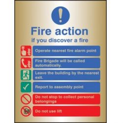 Brass Fire Action Sign - 59529