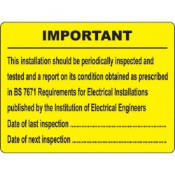 Electrical Inspection Record Label - Roll of 100 - 59584