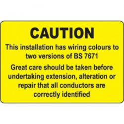 Caution BS 7671 Wiring Colours Warning Label - Roll of 100 - 59819