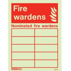 Jalite 6027D Photoluminescent Nominated Fire Wardens Sign