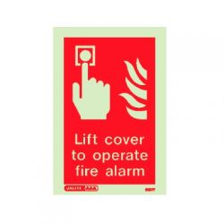 Jalite 6131Y Lift Cover To Operate Fire Alarm Sign - 150 x 100mm