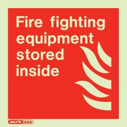 Jalite 6284E Fire Fighting Equipment Stored Inside Sign - Photoluminescent - 200 x 200mm - Rigid PVC