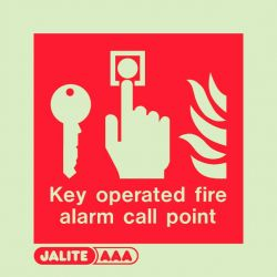 Jalite 6348B Key Operated Fire Alarm Call Point Sign - Photoluminescent - 80 x 80mm