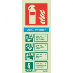 6360M Jalite Rigid PVC Photoluminescent ABC Powder Extinguisher ID Sign 80 x 200mm