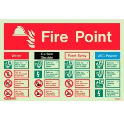 Jalite 6390DD Photoluminescent Fire Point Extinguisher ID Sign 225 x 300mm