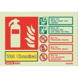 6407ID Jalite Rigid PVC Photoluminescent Wet Chemical Extinguisher ID Sign 150 x 105mm