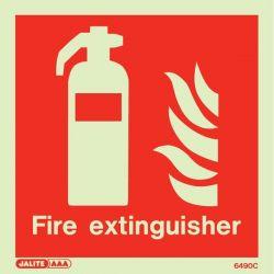 Jalite 6490C Photoluminescent Fire Extinguisher Location Sign 150x150mm