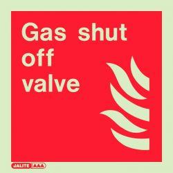 Jalite 6581C Gas Shut Off Valve Sign - Photoluminescent - 150 x 150mm