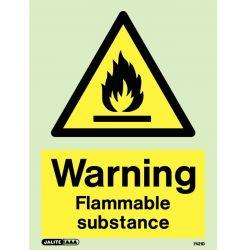 Jalite 7421D Photoluminescent Warning Flammable Substance Sign