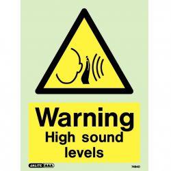 Jalite 7494D Photoluminescent Warning High Sound Levels Sign 150 x 200mm