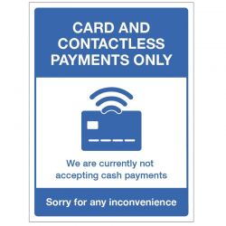 Card And Contactless Payments Only Sign - Rigid PVC - 18471