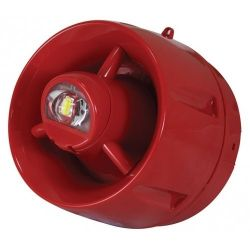 C-Tec BF433A/CX/SR Wall Mounted Sounder VAD Beacon With Shallow Base - Red Body Clear Lens
