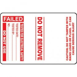 Cable Wrap PAT Testing Label - Failed - Roll of 100 - 54043