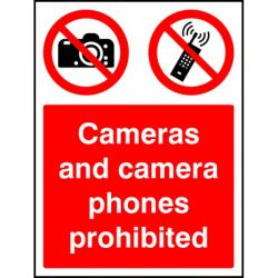 Cameras And Camera Phones Prohibited Sign - 3643