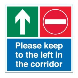 Coronavirus Please Keep To The Left In The Corridor Floor Graphic - COV004