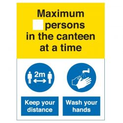 Coronavirus Maximum Number Of Persons In The Canteen At A Time Sign - Self-Adhesive Vinyl - COV051V