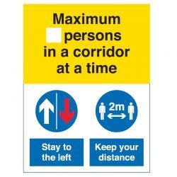 Coronavirus Maximum Number Of Persons In A Corridor At A Time Sign - Rigid PVC - COV055R