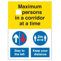 Coronavirus Maximum Number Of Persons In A Corridor At A Time Sign - Self-Adhesive Vinyl - COV055V