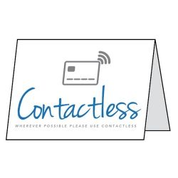 Wherever Possible Please Use Contactless Payment Double Sided Table Card - Pack of 5 - CV0011