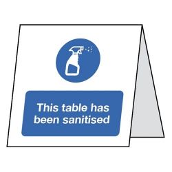 This Table Has Been Sanitised Double Sided Table Card - Pack of 5 - CV0034