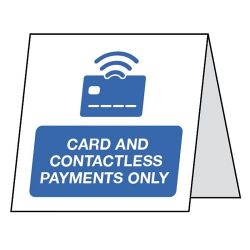 Card And Contactless Payments Only Double Sided Table Card - Pack of 5 - CV0036