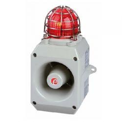 E2S D2XC1X10DC024AB1A1G/R Alarm Horn Sounder & Xenon Strobe Beacon 24V DC - Grey Body With Red Lens