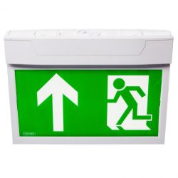Channel E/CAMBER/SURF/ST LED Surface Mounted Exit Sign With Pictogram Pack & Self-Test Facility