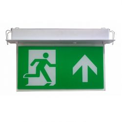 Channel E/RZ/M3/LED/F Razor LED Emergency Exit Sign - Flush Recessed Mounted With Up Arrow