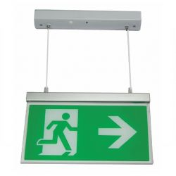 Channel E/RZ/M3/LED/H Razor LED Emergency Exit Sign - Hanging With Up Arrow
