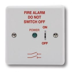 Haes FAIS-W-L Fire Alarm Mains Isolation Keyswitch - White - Supplied Without Backbox