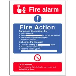 Fire Action Sign Without Lift Information