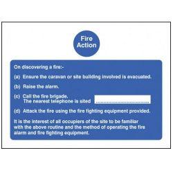 Fire Action Sign For Caravan Sites - Rigid PVC - 200 x 150mm - 11404E